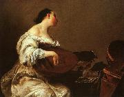Giuseppe Maria Crespi Woman Playing a Lute oil on canvas