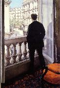 Gustave Caillebotte Young Man at his Window oil on canvas