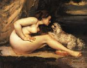 Gustave Courbet Nude with Dog oil on canvas
