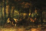 Gustave Courbet Spring Rutting;Battle of Stags oil on canvas