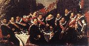 HALS, Frans Banquet of the Officers of the St George Civic Guard (detail) af oil painting