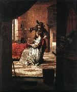 HOOCH, Pieter de Couple with Parrot sg oil on canvas