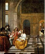 HOOCH, Pieter de Company Making Music af oil on canvas