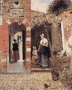 HOOCH, Pieter de The Courtyard of a House in Delft dg oil on canvas