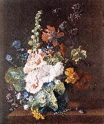 HUYSUM, Jan van Hollyhocks and Other Flowers in a Vase sf painting
