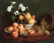 Henri Fantin-Latour Flowers and Fruit on a Table oil