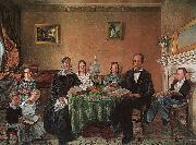 Henry F Darby Reverend John Atwood and his Family oil