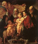 Jacob Jordaens The Holy Family with St.Anne, the Young Baptist and his Parents oil on canvas
