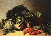 James Peale Still Life Balsam Apple and Vegetables oil on canvas