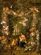 Jan Brueghel Holy Family in a Flower Fruit Wreath painting