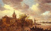 Jan van  Goyen A Church and a Farm on the Bank of a River oil on canvas