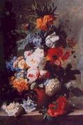 Jan van Huysum Still Life of Flowers in a Vase on a Marble Ledge oil on canvas