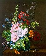 Jan van Huysum Hollyhocks and other Flowers in a Vase oil on canvas