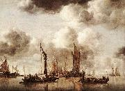 Jan van de Capelle Dutch Yacht Firing a Salvo oil on canvas