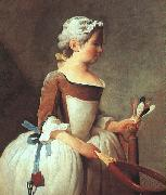 Jean Baptiste Simeon Chardin Girl with Racket and Shuttlecock oil on canvas
