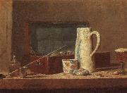 Jean Baptiste Simeon Chardin Pipes and Drinking Pitcher oil on canvas