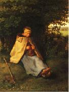 Jean Francois Millet Woman Knitting oil painting reproduction