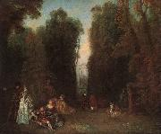 Jean-Antoine Watteau View through the trees in the Park of Pierre Crozat oil painting reproduction
