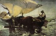 Joaquin Sorolla Y Bastida Return from Fishing Towing the Bark oil painting