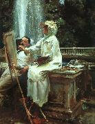 John Singer Sargent The Fountain at Villa Torlonia in Frascati oil painting reproduction