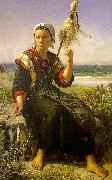 Jules Breton Brittany Girl oil on canvas