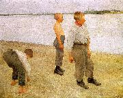 Karoly Ferenczy Boys Throwing Pebbles into the River oil