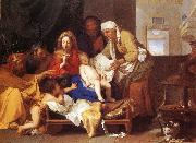 LE BRUN, Charles Holy Family with the Adoration of the Child s painting