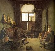 Leon-Matthieu Cochereau Interior of the Studio of David oil on canvas