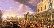 Luca Carlevaris Entry of the Earl of Manchester into the Doge's Palace oil on canvas
