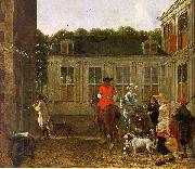 Ludolf de Jongh Hunting Party in the Courtyard of a Country House painting
