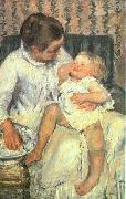 Mary Cassatt Mother About to Wash her Sleepy Child oil painting reproduction