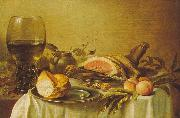 Pieter Claesz Breakfast with Ham oil on canvas