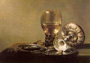 Pieter Claesz Still Life with Wine Glass and Silver Bowl oil on canvas