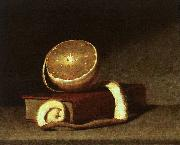 Raphaelle Peale Still Life with Orange and Book oil