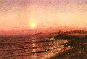 Raymond D Yelland Moonrise Over Seacoast at Pacific Grove oil