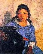 Robert Henri Gregorita with the Santa Clara Bowl oil