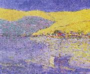Seldon Connor Gile Boat and Yellow Hills oil on canvas