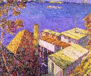Seldon Connor Gile Tiburon Housetops oil on canvas