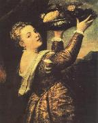 TIZIANO Vecellio Girl with a Basket of Fruits (Lavinia) r oil painting reproduction