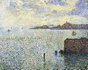 Theo Van Rysselberghe Sailboats and Estuary oil