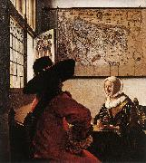 VERMEER VAN DELFT, Jan Officer with a Laughing Girl ar painting