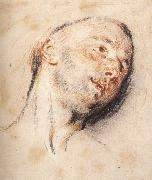 WATTEAU, Antoine Head of a Man painting