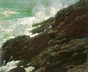 Winslow Homer High Cliff, Coast of Maine painting