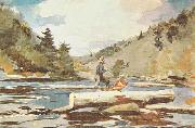 Winslow Homer Hudson River, Logging painting