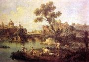 ZAIS, Giuseppe Landscape with River and Bridge oil