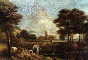 ZAIS, Giuseppe Landscape with Shepherds and Fishermen oil