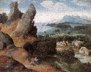 PATENIER, Joachim Landscape with the Flight into Egypt agh oil painting