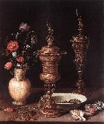 PEETERS, Clara Still-Life with Flowers and Goblets a oil on canvas