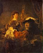 REMBRANDT Harmenszoon van Rijn Rembrandt and Saskia in the Scene of the Prodigal Son in the Tavern dh oil