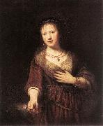 REMBRANDT Harmenszoon van Rijn Portrait of Saskia with a Flower oil